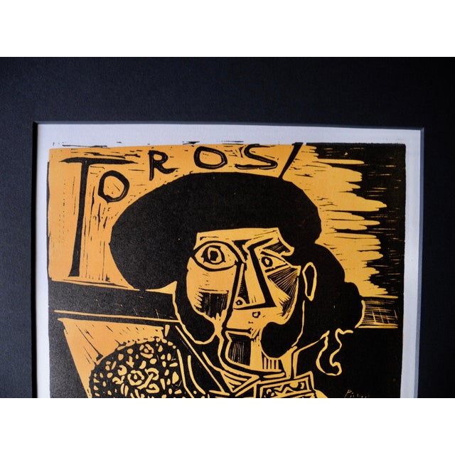 Mid-Century Expressionist Lithograph of a Woodcut by Pablo Picasso for Vallauris, 1958 For Sale In New York - Image 6 of 9