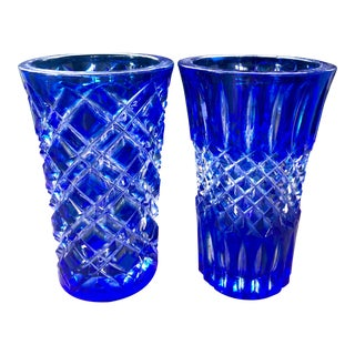 Vintage Mid Century Cobalt Blue Cut to Clear Crystal Glass Vases- a Pair For Sale