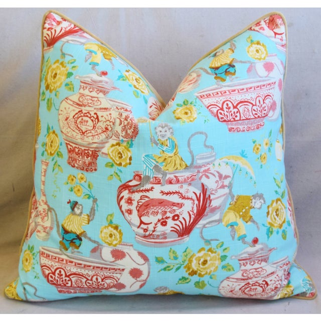 """Early 21st Century Aqua Chinoiserie Playful Monkeys & Chinese Vases Feather/Down Pillows 26"""" Square - Pair For Sale - Image 5 of 13"""