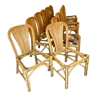 Set of 12 Mid Century Bentwood Rattan Palm Beach Tropical Bamboo Crespi Style Boho Chic Split Reed Dining Chairs With Hide Joint Wraps For Sale