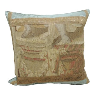 Antique Aubusson Tapestry Square Decorative Pillow For Sale