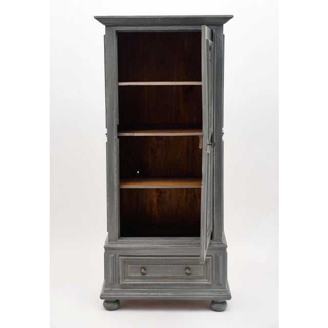 Louis XIV Style Gray Painted Bonnetiere - A strong, tightly built 19th century cabinet of fir from the French Alps...
