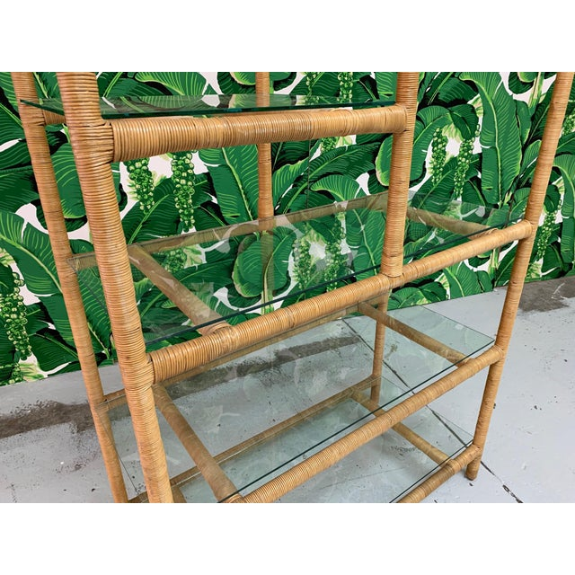 Metal Rattan Wrapped Etagere For Sale - Image 7 of 9