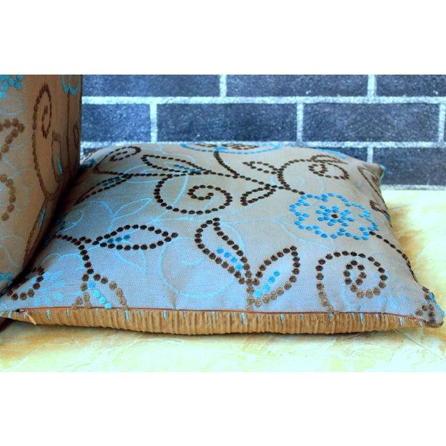 Vintage Floral Handwoven Varanasi Brocade Reversible Pillow For Sale - Image 12 of 13