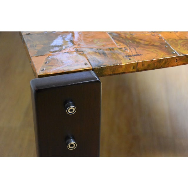 Lafer Brazilian Rosewood and Copper Coffee Table - Image 11 of 11