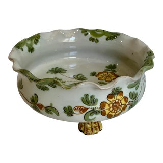Cantagalli Firenze Italy Rooster Mark Blue Carnation Footed Ruffle Bowl For Sale