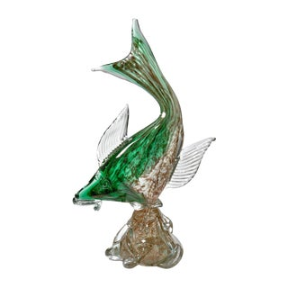 Vintage Mid-Century Modern Murano Glass Sculpture of Fish in Motion For Sale
