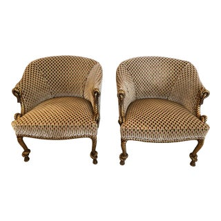 1950s Vintage Velvet Hollywood Regency Gilded Rope & Tassel Club Chairs- A Pair For Sale
