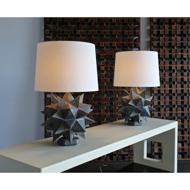Sculptural Metal Table Lamps, Circa 1965 - a Pair For Sale - Image 11 of 12