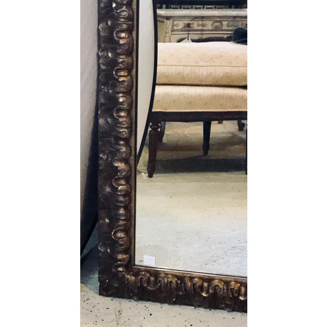 Neoclassical Monumental Gilt Gold Shell Carved Floor Mirror For Sale - Image 3 of 8
