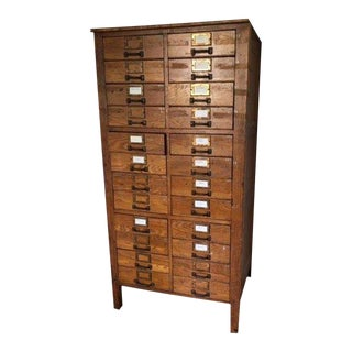 Early 20th Century Antique Oak File Cabinet For Sale