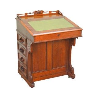 19th Century Antique Victorian Walnut Davenport Writing Desk