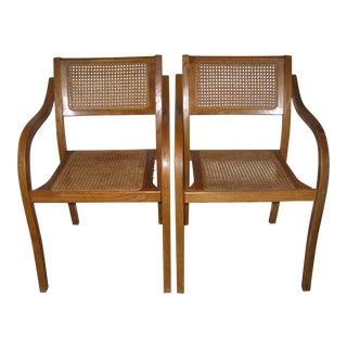 1970's Danish Style Cold Bent Caned Chairs - A Pair