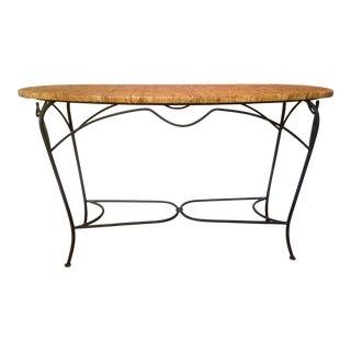 Palecek Arabesque Rattan & Iron Console Table For Sale