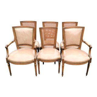French Antique Walnut Louis XVI Cane & Leather Seat Dining Chairs - Set of 6