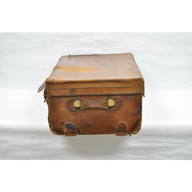 Item: Antique Large Brown Leather Hard Luggage / Suitcase with Beautiful Aged Patina Details: Tough Hard Leather Which has...