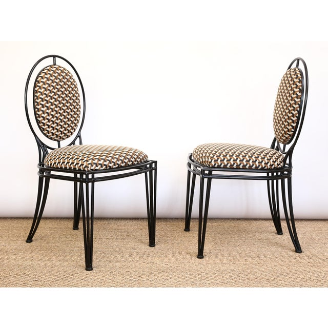 Brown Upholstered Oval Back Chairs - a Pair For Sale - Image 8 of 8