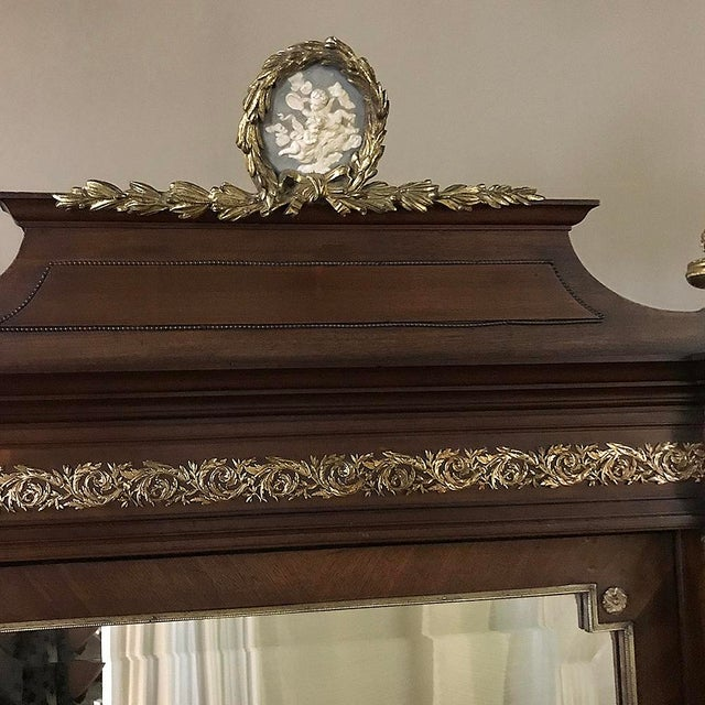 19th Century French Louis XVI Mahogany Armoire With Ormolu For Sale In Dallas - Image 6 of 13