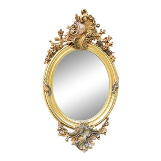 19th Century French Louis XV Oval Gilded Mirror For Sale