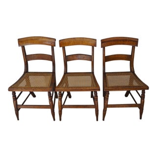 Antique Cane Seat Dining Chairs - Set of 3 For Sale