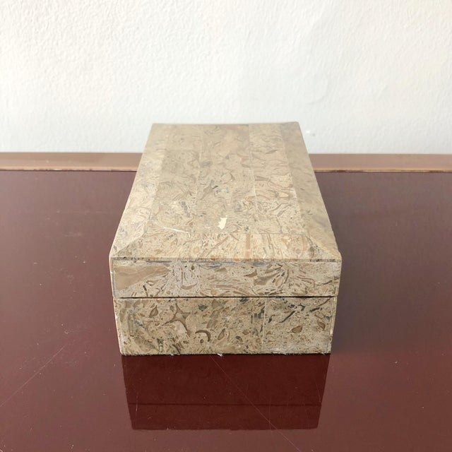 Mid-Century Modern 1980s Tessellated Marble Hinged Vintage Box For Sale - Image 3 of 9