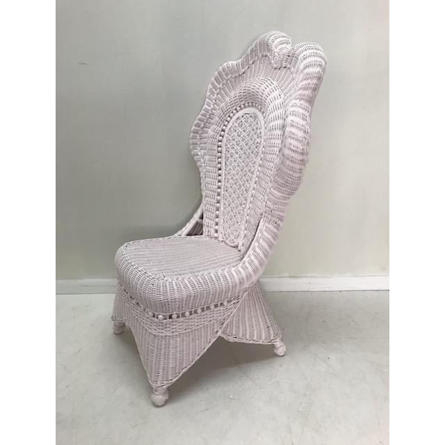 Victorian Wicker Side Chair... Refinished in a pale (blush) Pink Lacquer and featuring a gorgeous scalloped back. With a...
