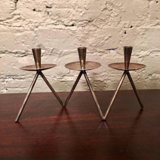 Danish Silver Plated Brass Candle Holder - Set of 3 Preview