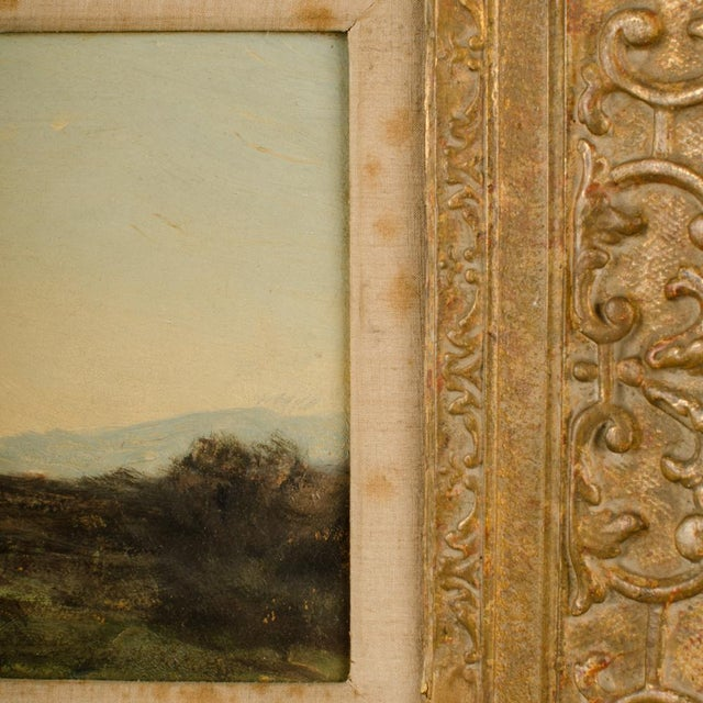 """1910s Early 20th Century """"Lonely Church"""" Landscape Oil Painting, Framed For Sale - Image 5 of 10"""
