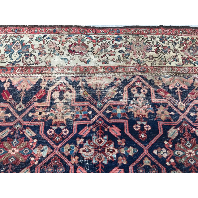 Textile Vintage Design Decorative Blue Background Color Mahal Rug- 9′5″ × 13′5″ For Sale - Image 7 of 13