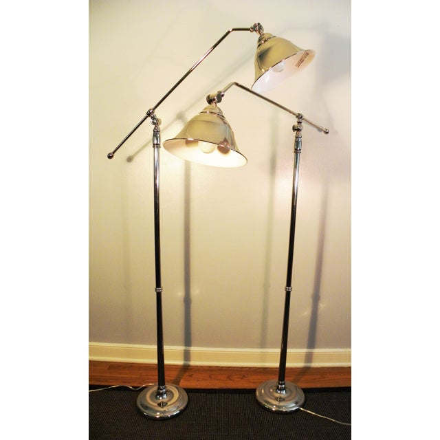 Vintage Swing-Arm Chrome Floor Lamps - A Pair - Image 9 of 9