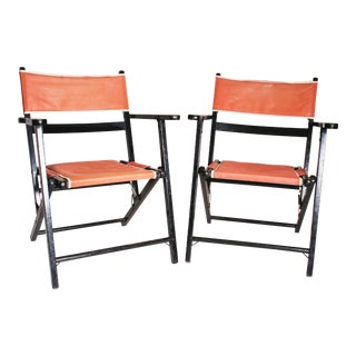 Mid Century Modern Black & Pink Wood Folding Chairs - A Pair