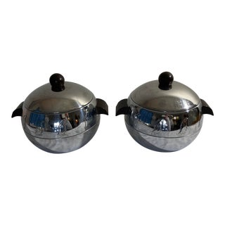 1940s Mid Century West Bend Ralph N. Kircher Penguin Hot/Cold Chrome Servers - a Pair For Sale