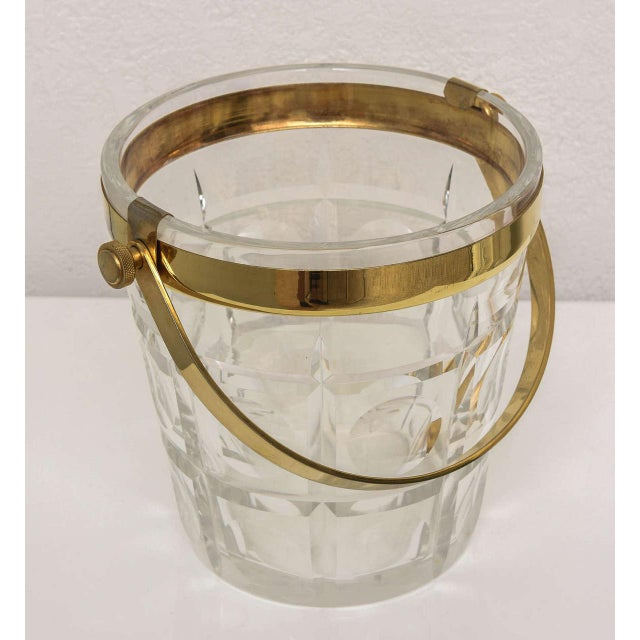 Mid 20th Century Hollywood-Regency Ice-Bucket in Crystal With Brass Accents: American, 1940s For Sale - Image 5 of 11