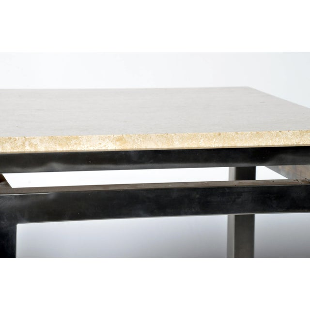 Silver Pair of Two-Tier Travertine Side Tables in the Style of Guy Lefevre For Maison Jansen For Sale - Image 8 of 11