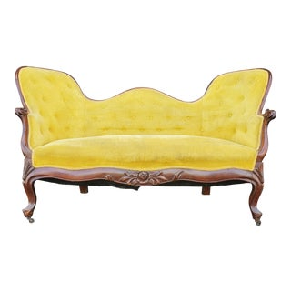 Antique Yellow Velvet Loveseat For Sale