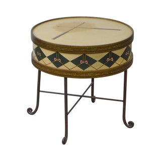 Round Drum Faux Painted Iron Base Side Table (Possibly Maitland Smith)