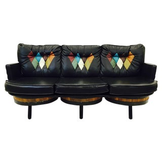 Retro Mid-Century Black Diamond Back Sofa For Sale