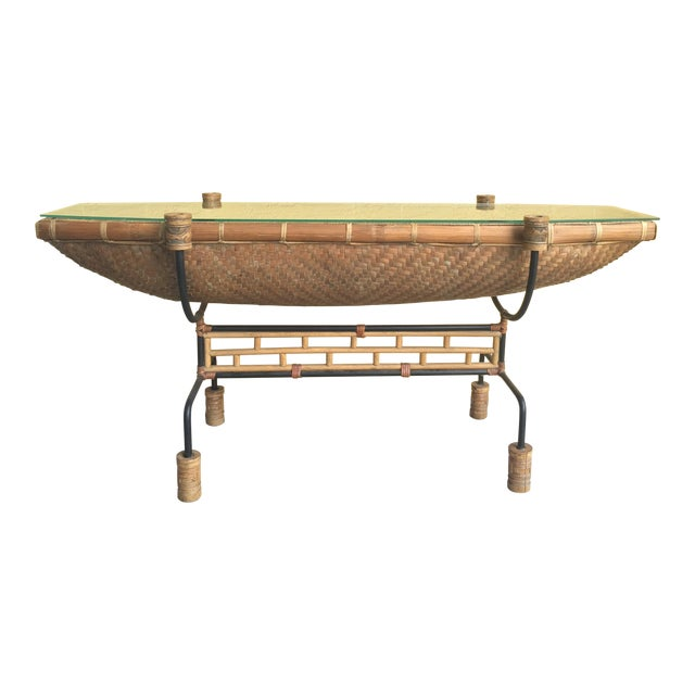 Vintage Pacific Style Rattan Console - Image 1 of 11