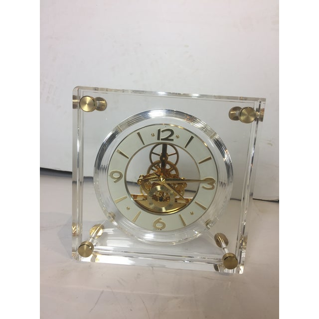 Late 20th Century Vintage Square Shape Lucite Clock For Sale - Image 9 of 13