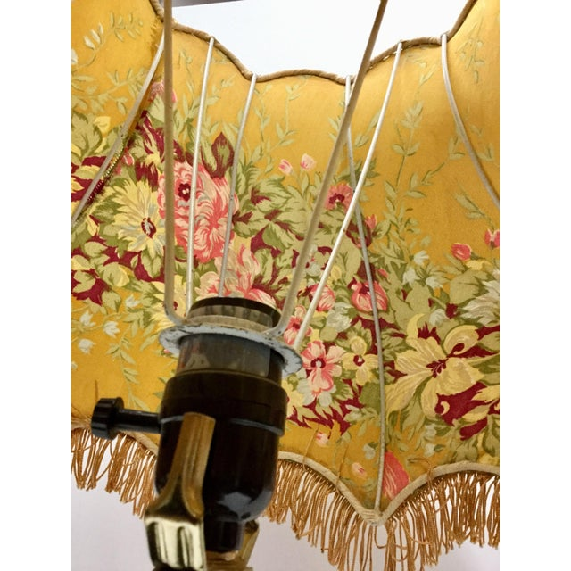 Glass Vintage Glass Table Lamp With Antique French Lampshade For Sale - Image 7 of 13