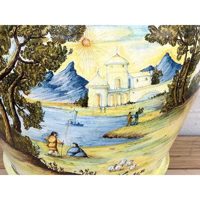 Italian Majolica Landscape Olive Oil Jar/ Jardinière For Sale - Image 4 of 12
