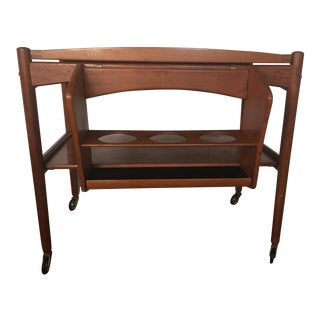 Vintage Danish Modern Teak Removable Tray and Bottle Caddy Rolling Bar Cart