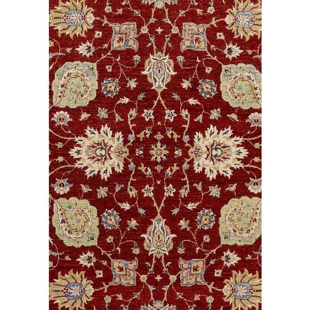 Traditional Kafkaz Peshawar Rubin Red & Ivory Wool Rug - 9'0 X 11'10 For Sale - Image 3 of 7