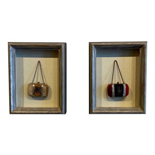 Framed English Coin Purses - a Pair For Sale
