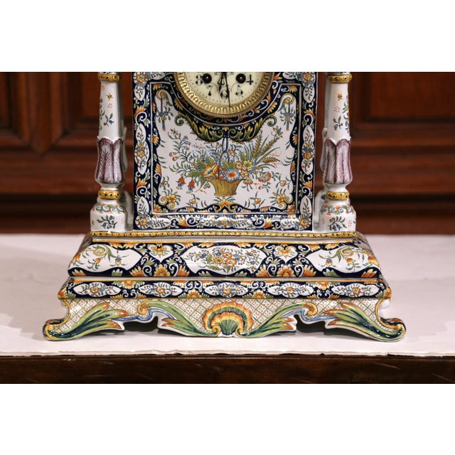 19th Century French Hand-Painted Ceramic Mantel Clock From Rouen For Sale - Image 4 of 11