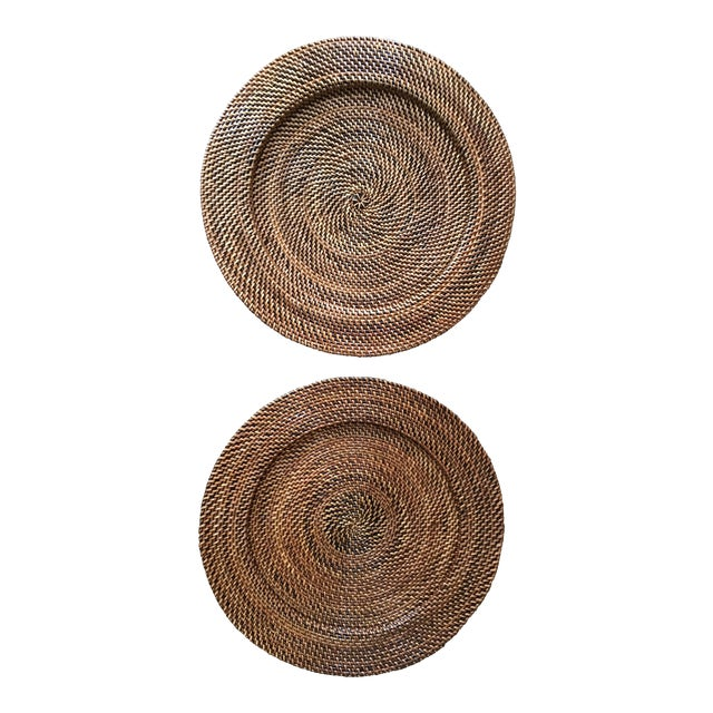 Woven Rattan Round Trays, A Pair For Sale