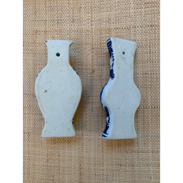 Chinoiserie Blue and White Wall Pockets - a Pair For Sale - Image 4 of 5