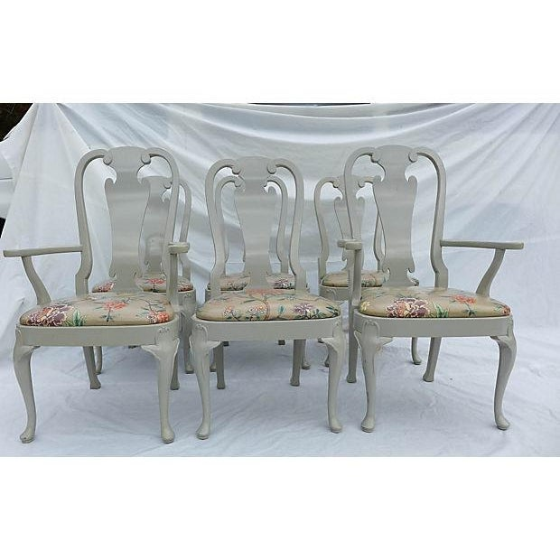 Set of six coastal living dining chairs (2-arm, 4-side) with vinyl aviary floral upholstery. Maker's mark reads...