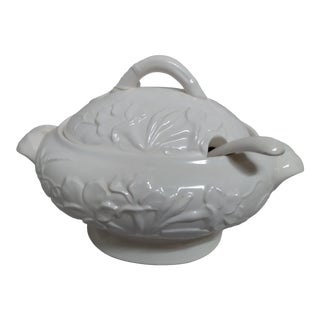 Vintage 1940s Ceramic Tureen With Ladle For Sale