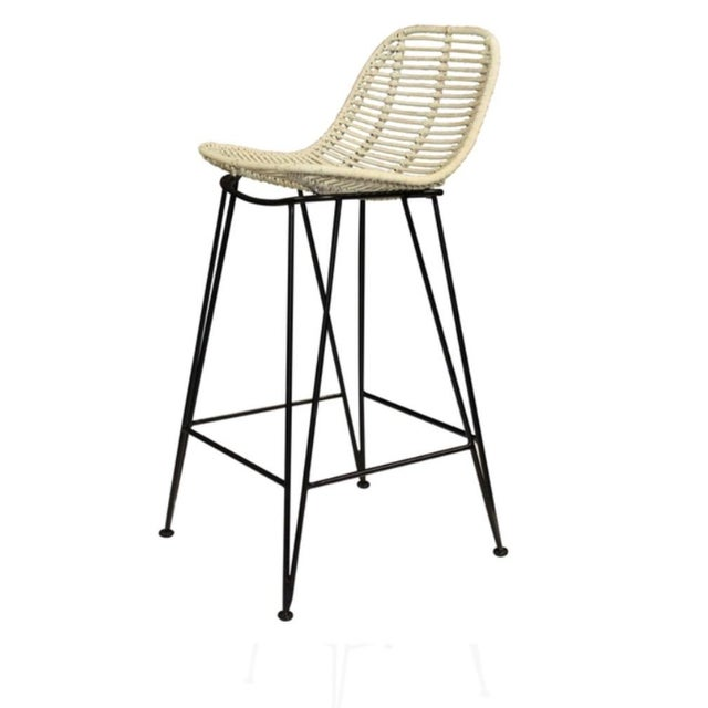 Rattan & Iron Barstools - A Pair - Image 4 of 6